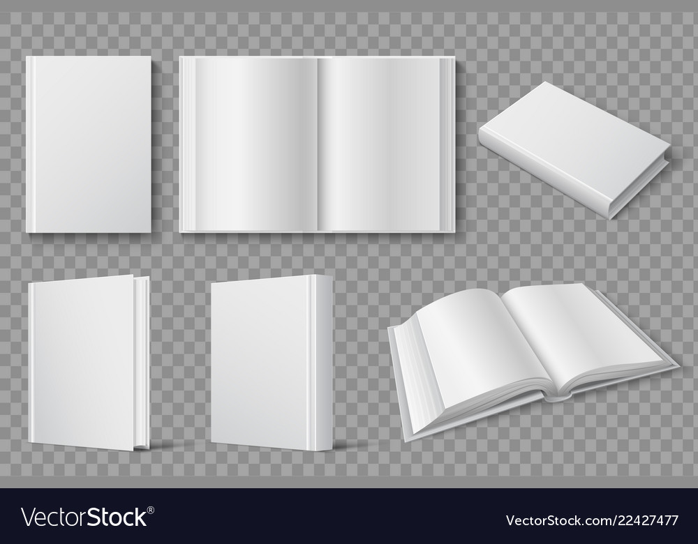 Book mockup blank white closed and open books