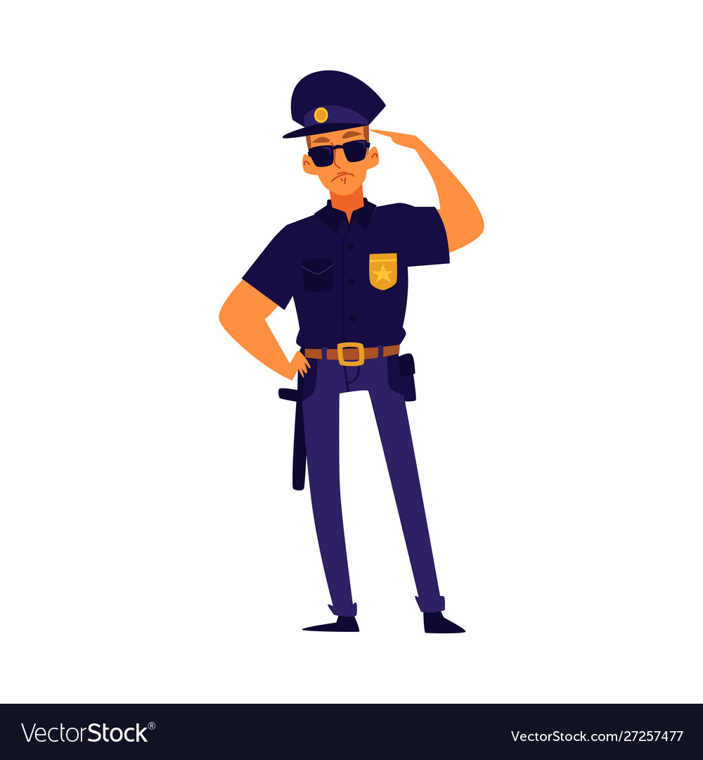 Cartoon policeman standing in salute pose police