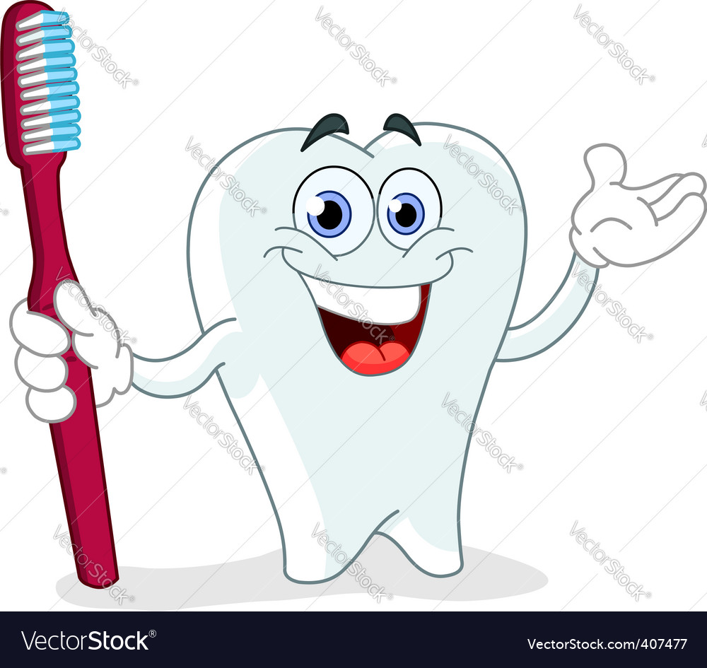 Cartoon tooth with toothbrush