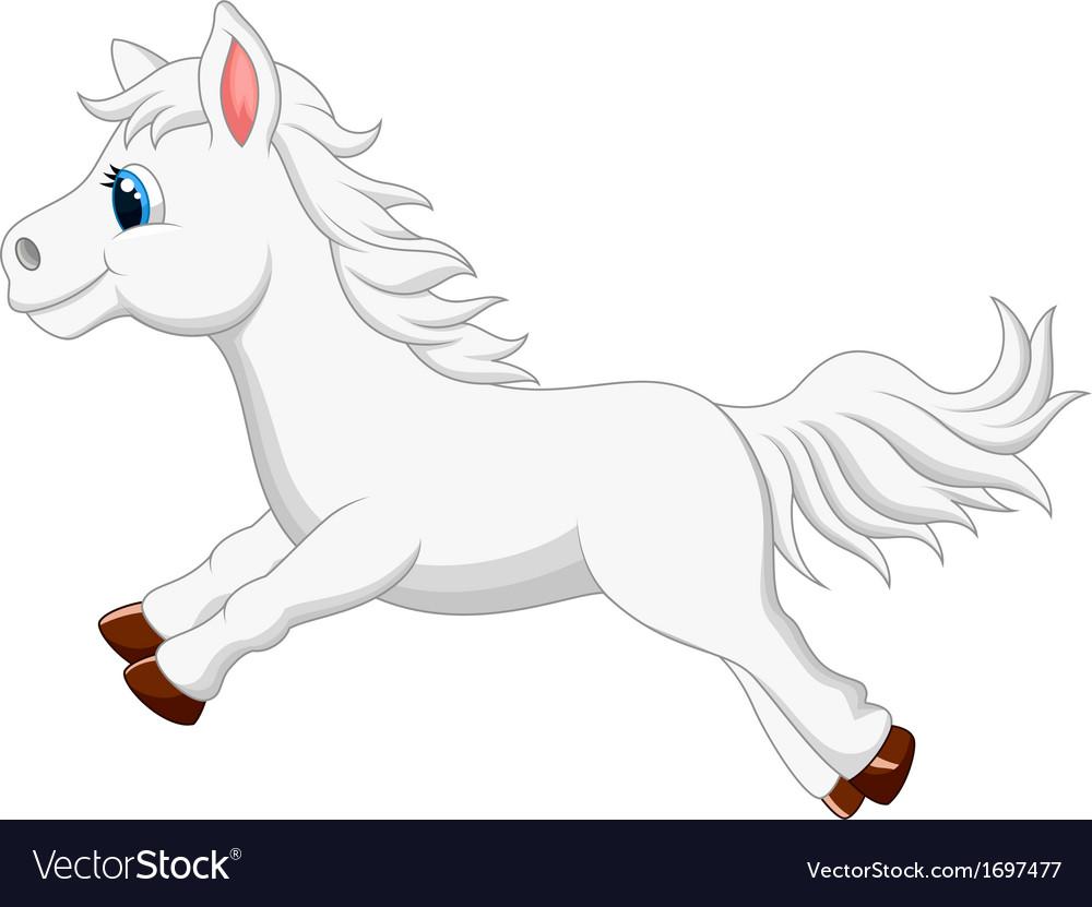Cute white pony horse cartoon running