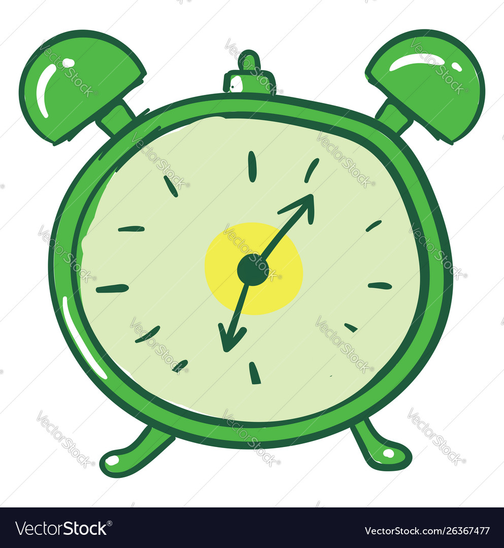 Green Alarm Clock On White Background Royalty Free Vector