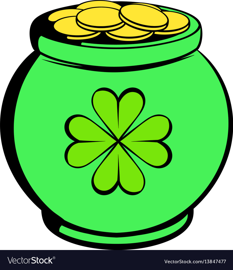 Green pot full of gold icon icon cartoon