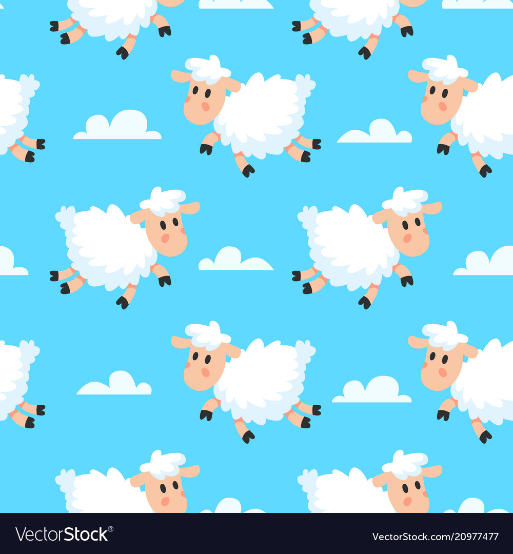 Happy sleeping sheeps fabric background dreamy