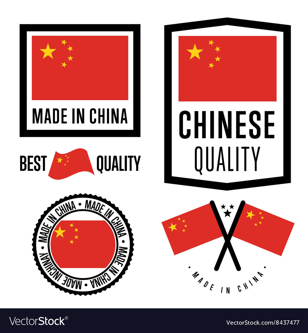Made in China label set national flag