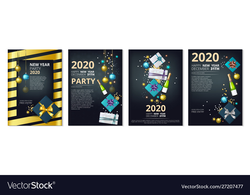 New year party banners 2020 year eve invitation
