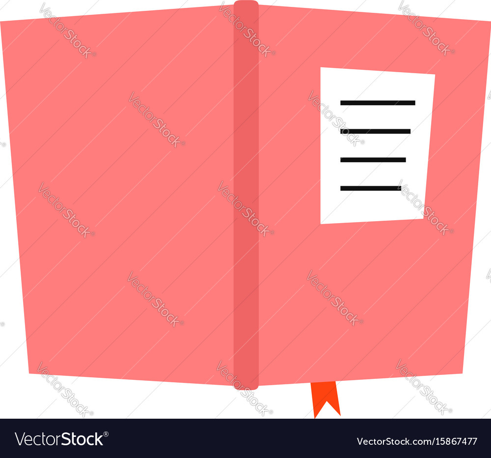 Pink book diary icon vector image