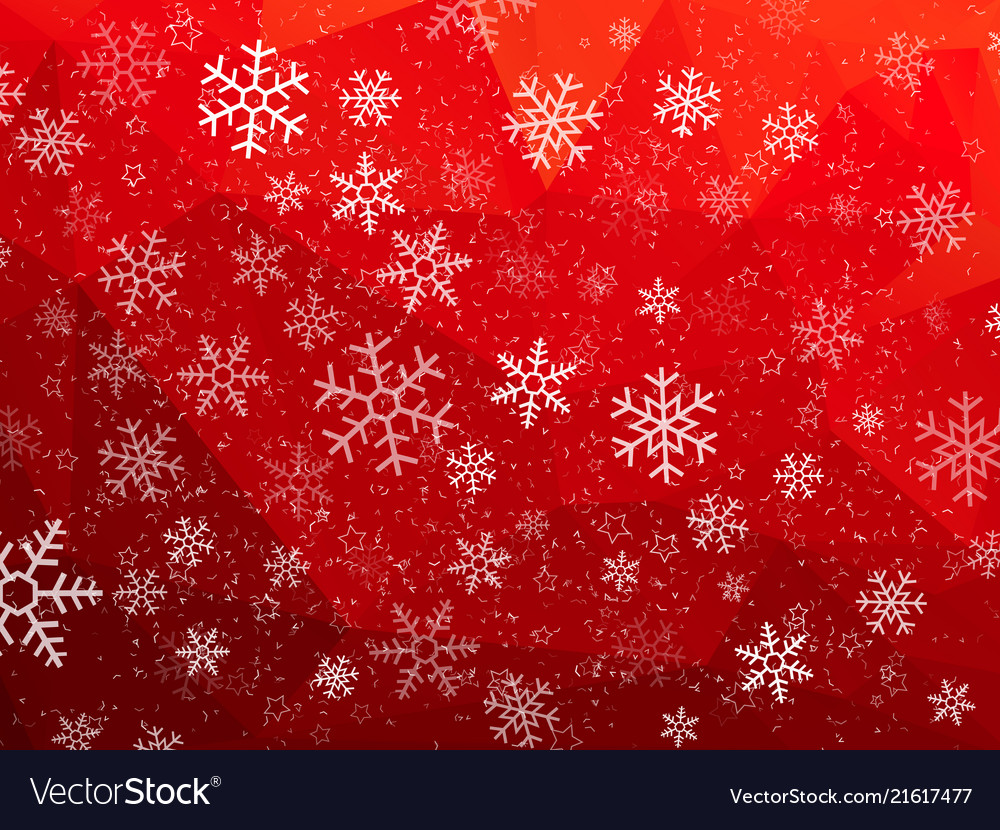 Red Christmas Background.Red Abstract Christmas Background With Snowflakes
