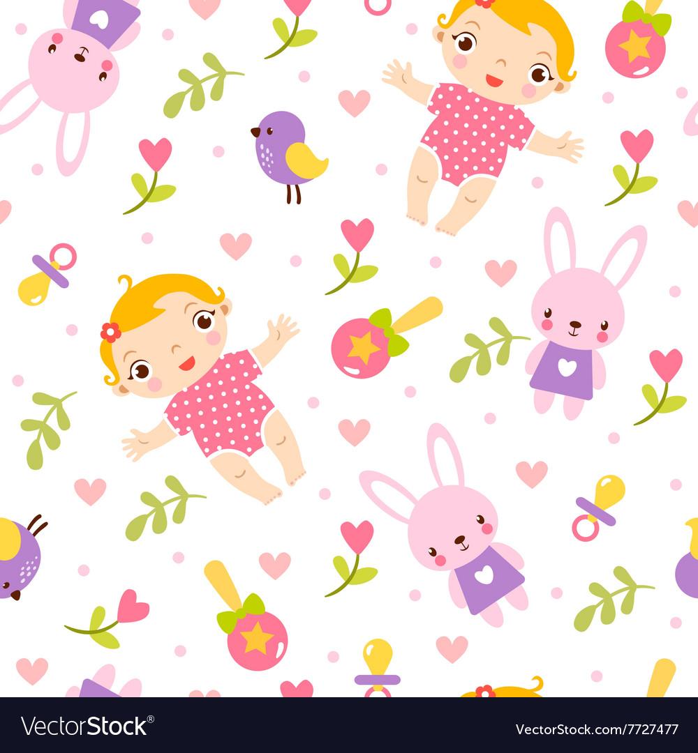 Seamless girl baby pattern