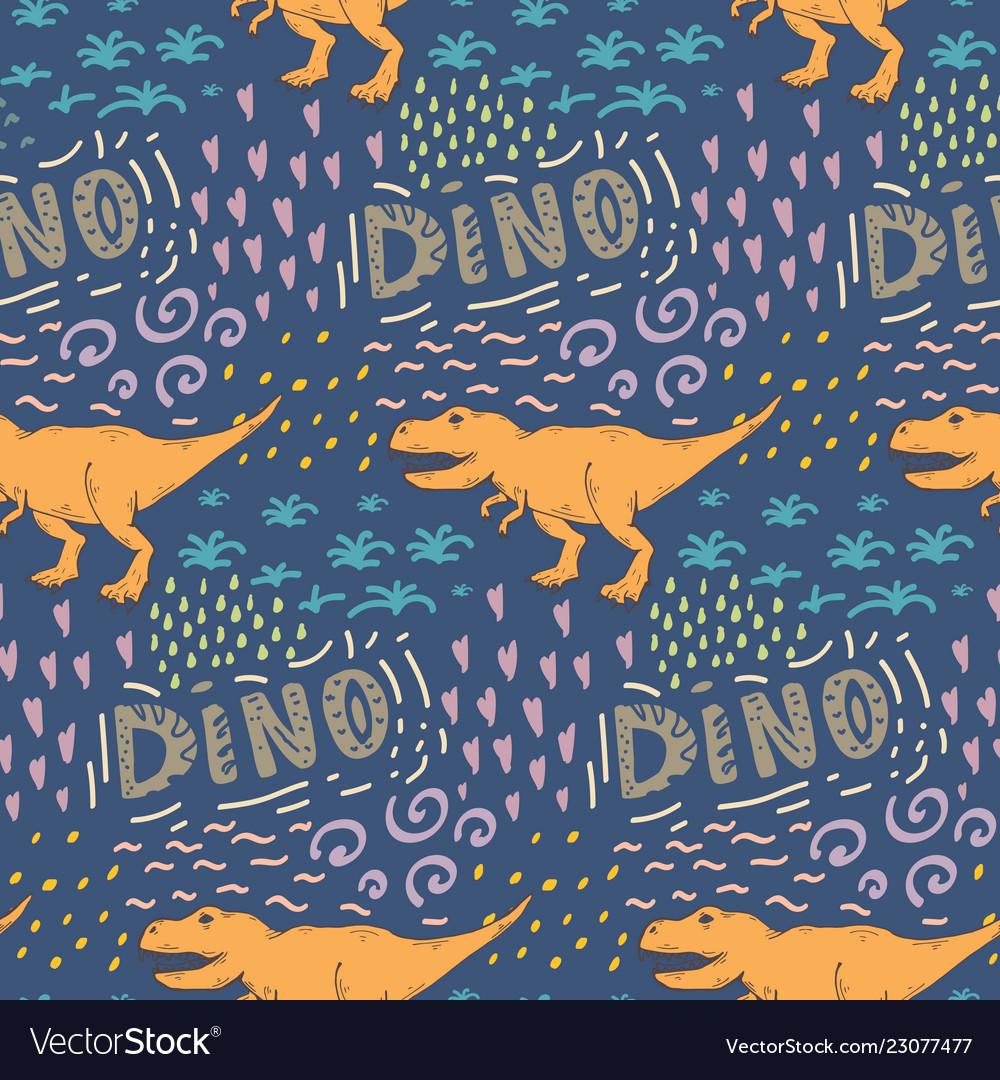 Seamless pattern with dinosaur on a dark