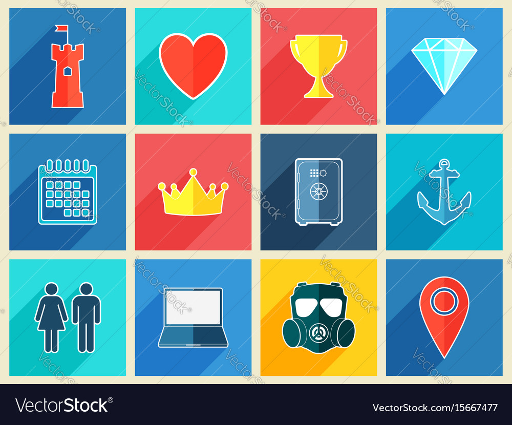 Various flat design icons with long shadow effect