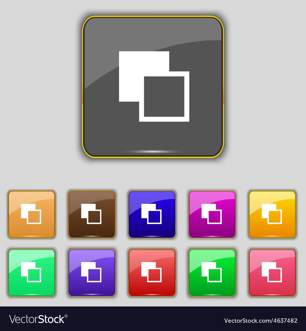 Active color toolbar icon sign Set with eleven