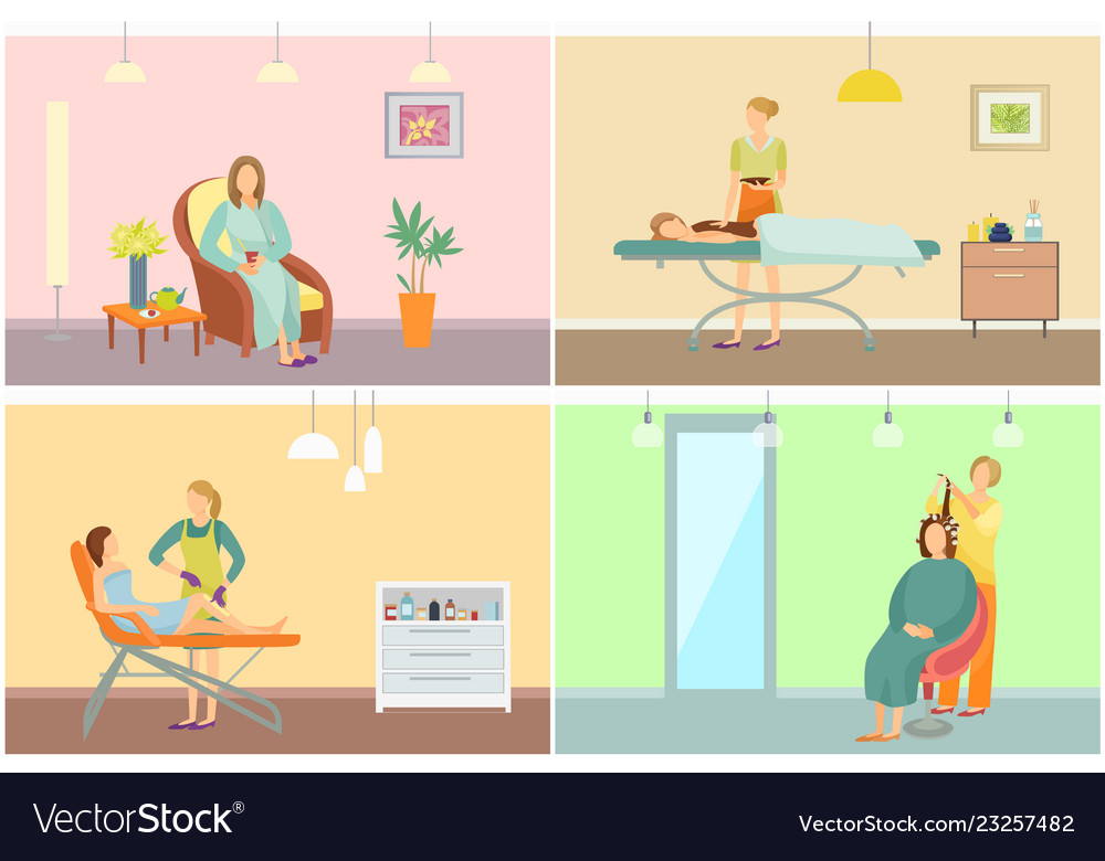 Beauty Salon With Clients And Equipment Cartoon Vector Image