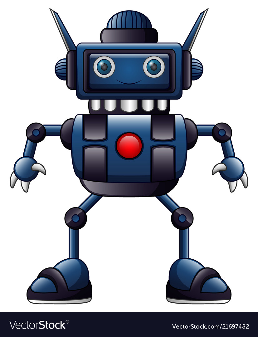 Blue robot cartoon isolated on white background Vector Image