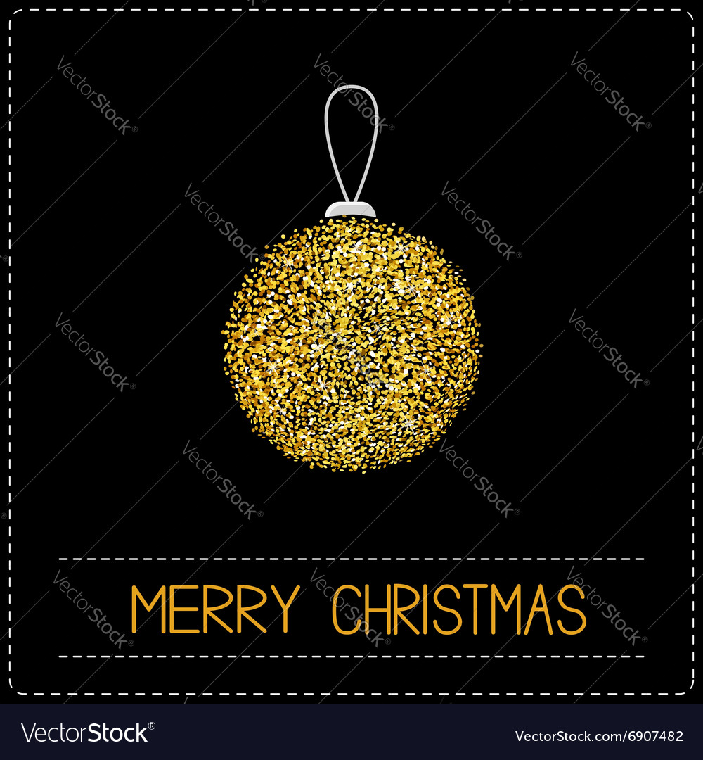 Christmas ball Glitter gold Merry Christmas card