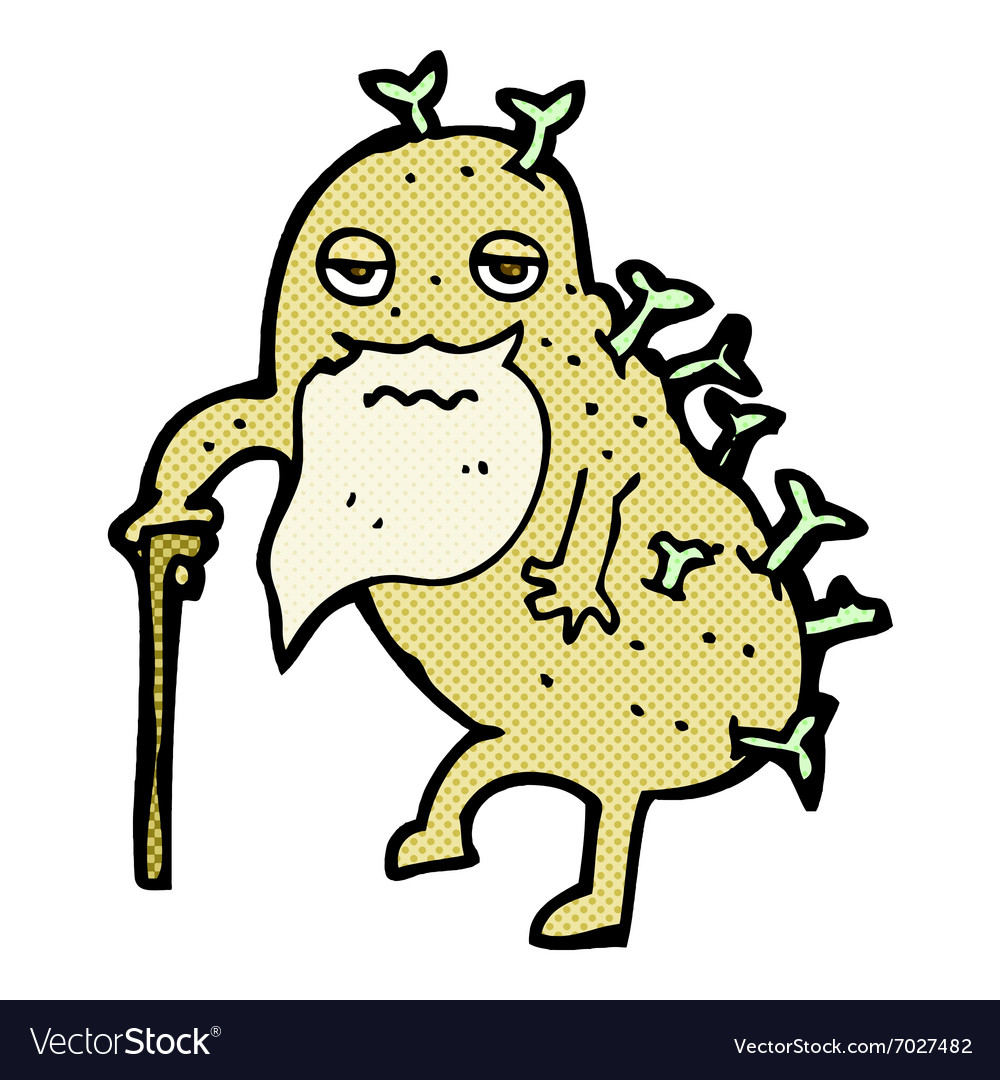 Comic cartoon old potato vector image