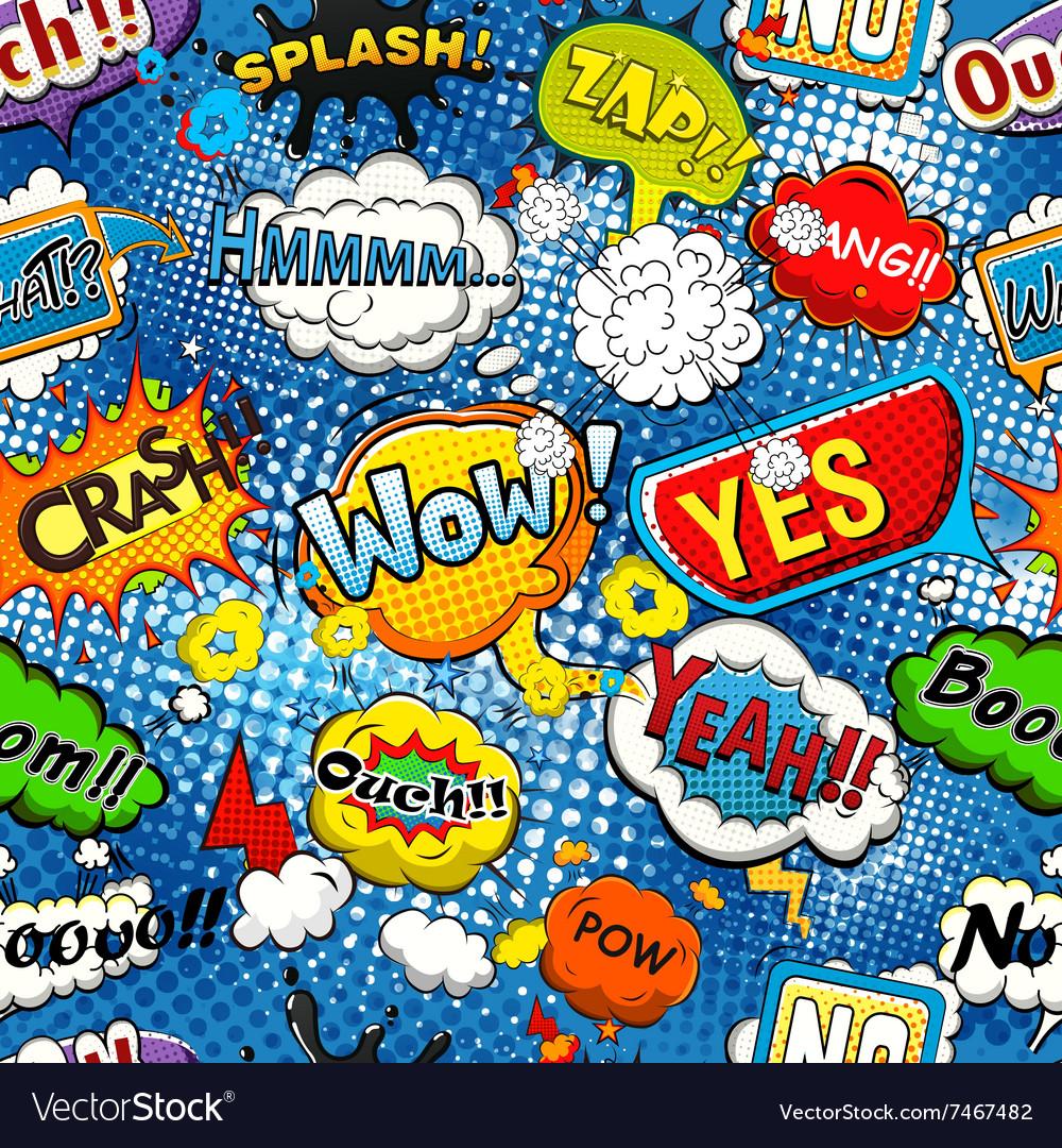 Comic speech bubbles seamless pattern vector image