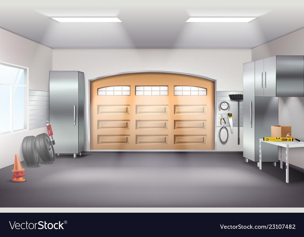 Garage Interior Realistic Composition Royalty Free Vector