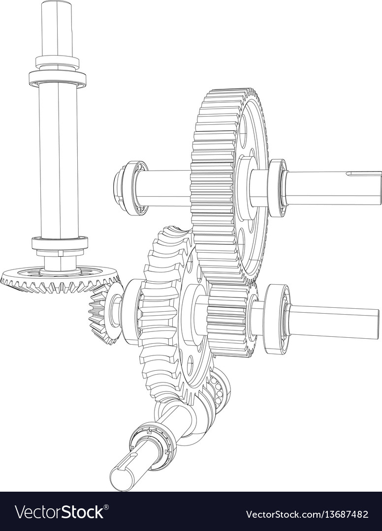 Gears with bearings and shafts vector image