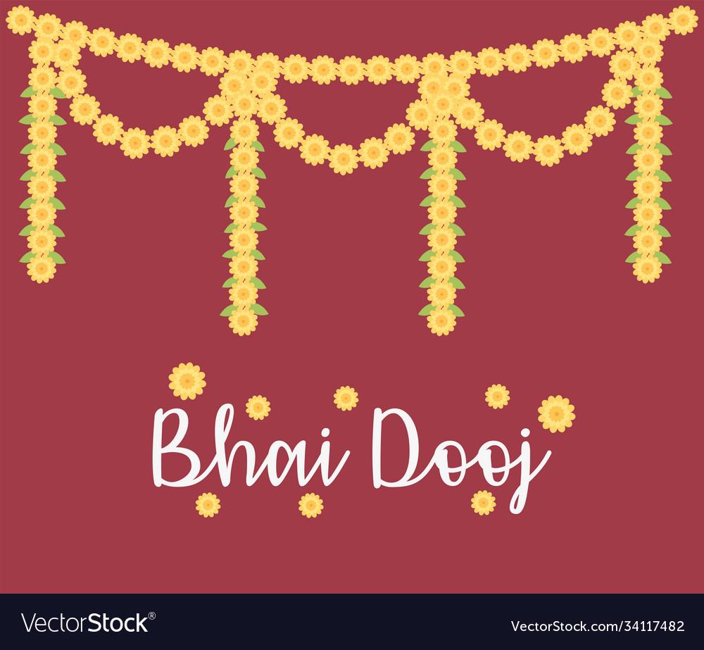 Happy bhai dooj decorative flowers garland