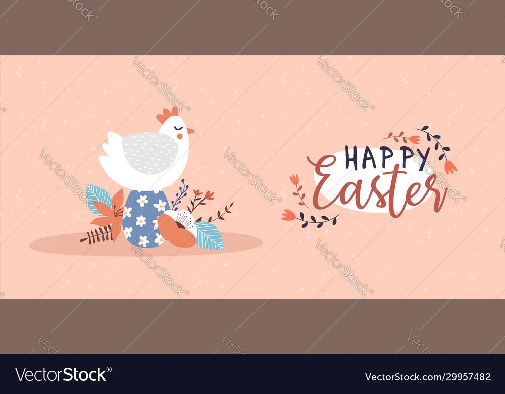 Happy easter card funny chicken bird egg