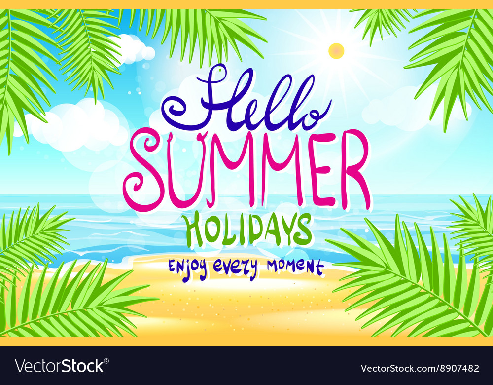 Hello summer Poster on tropical beach background