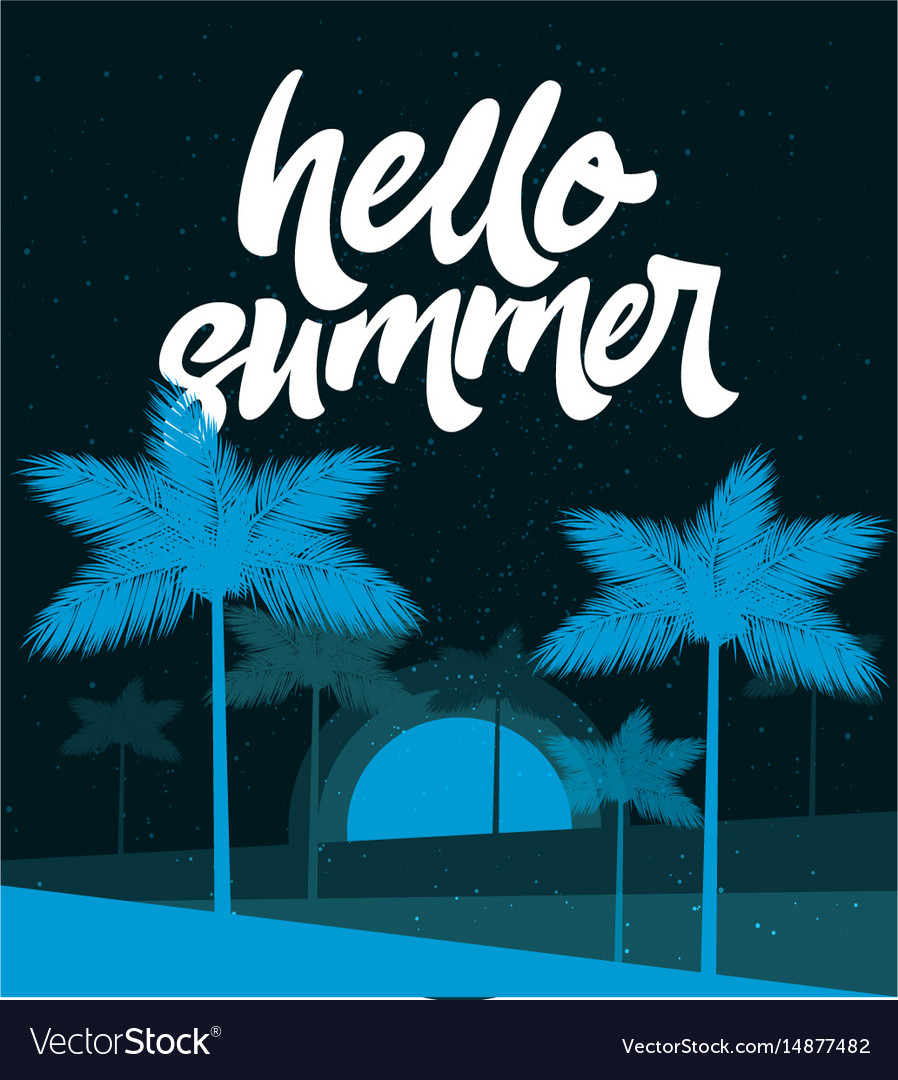Hello summer poster tropic background banner