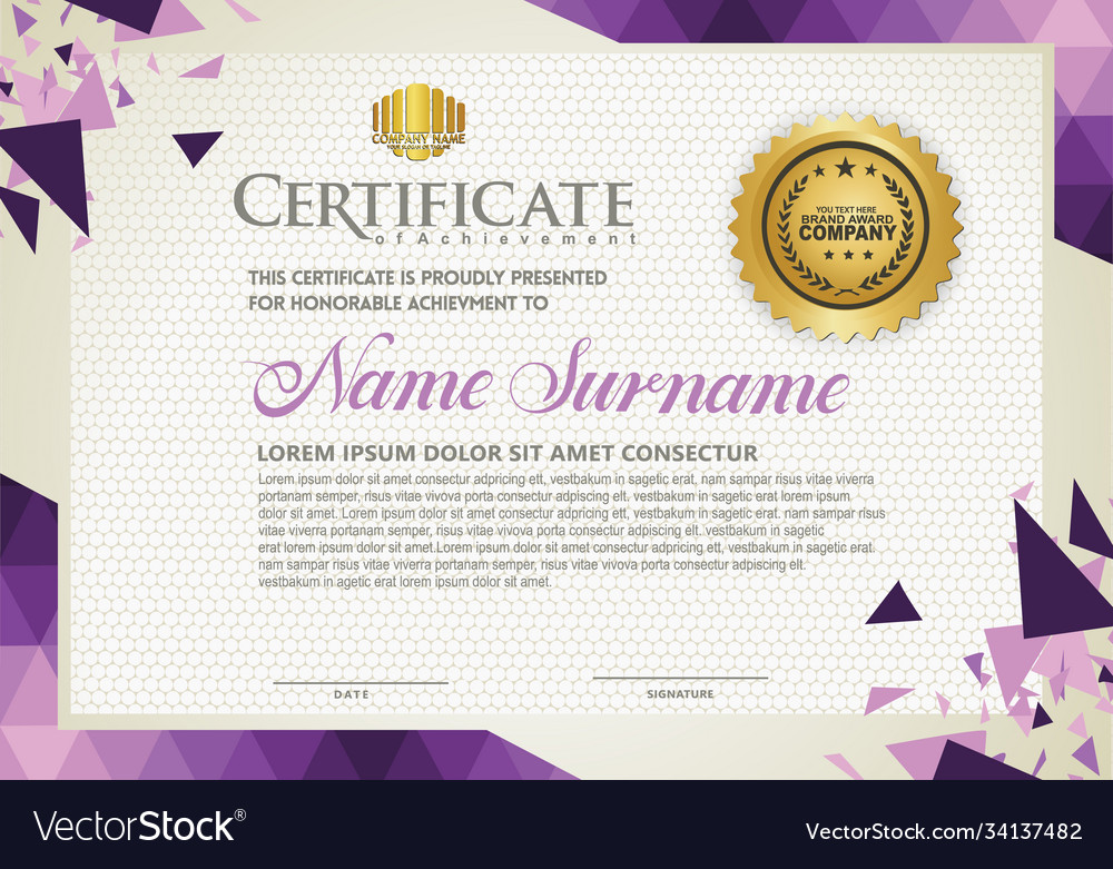 Horizontal certificate template with triangle