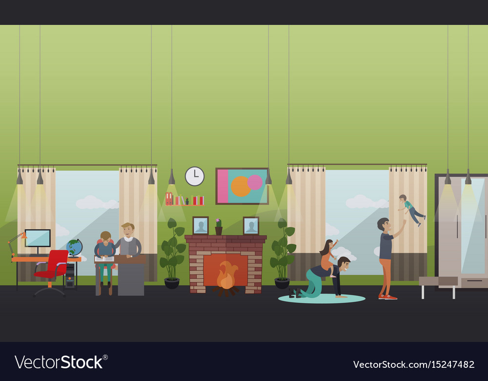 Lessons and leisure with father vector image