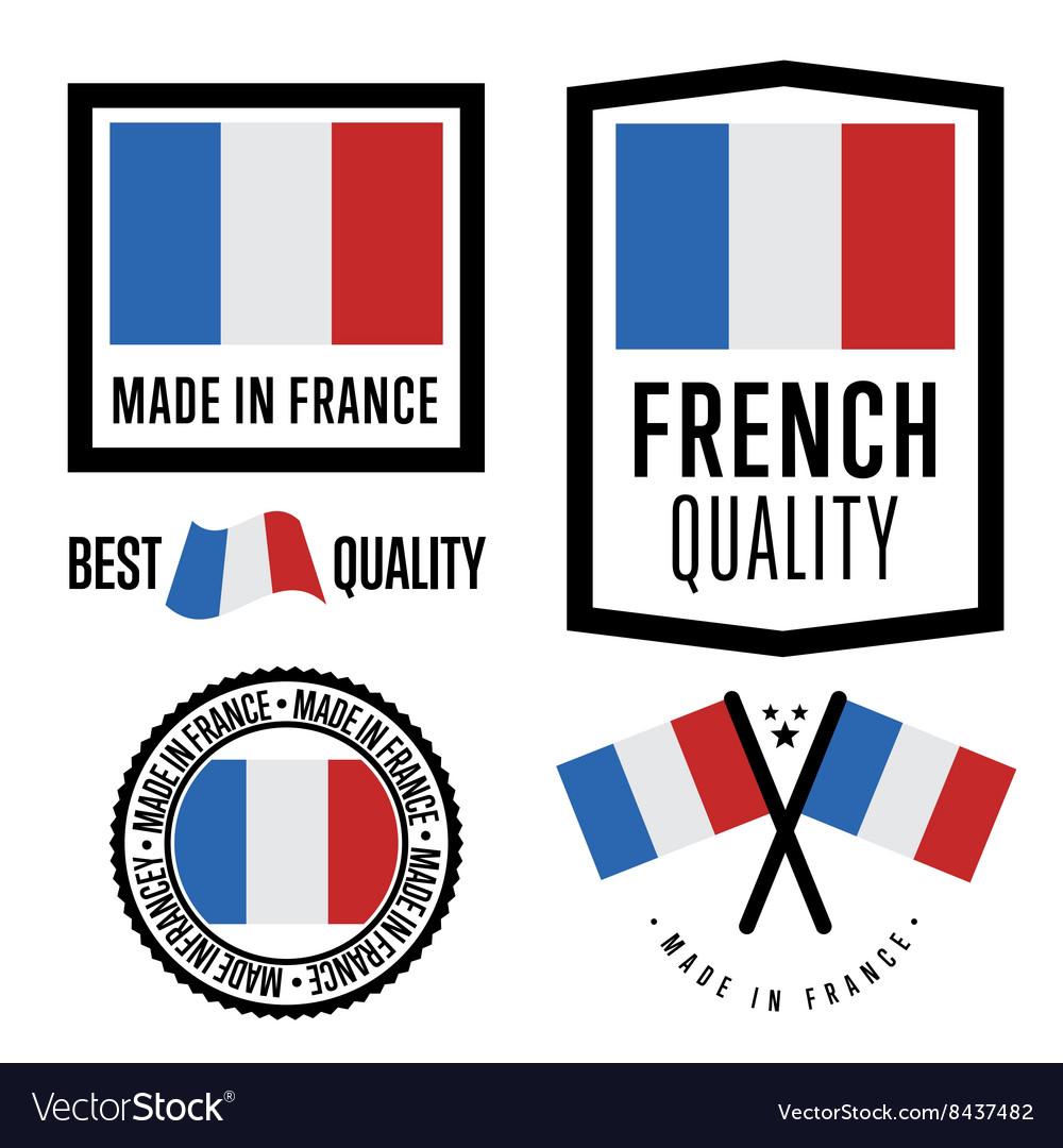 Made in France label set national flag
