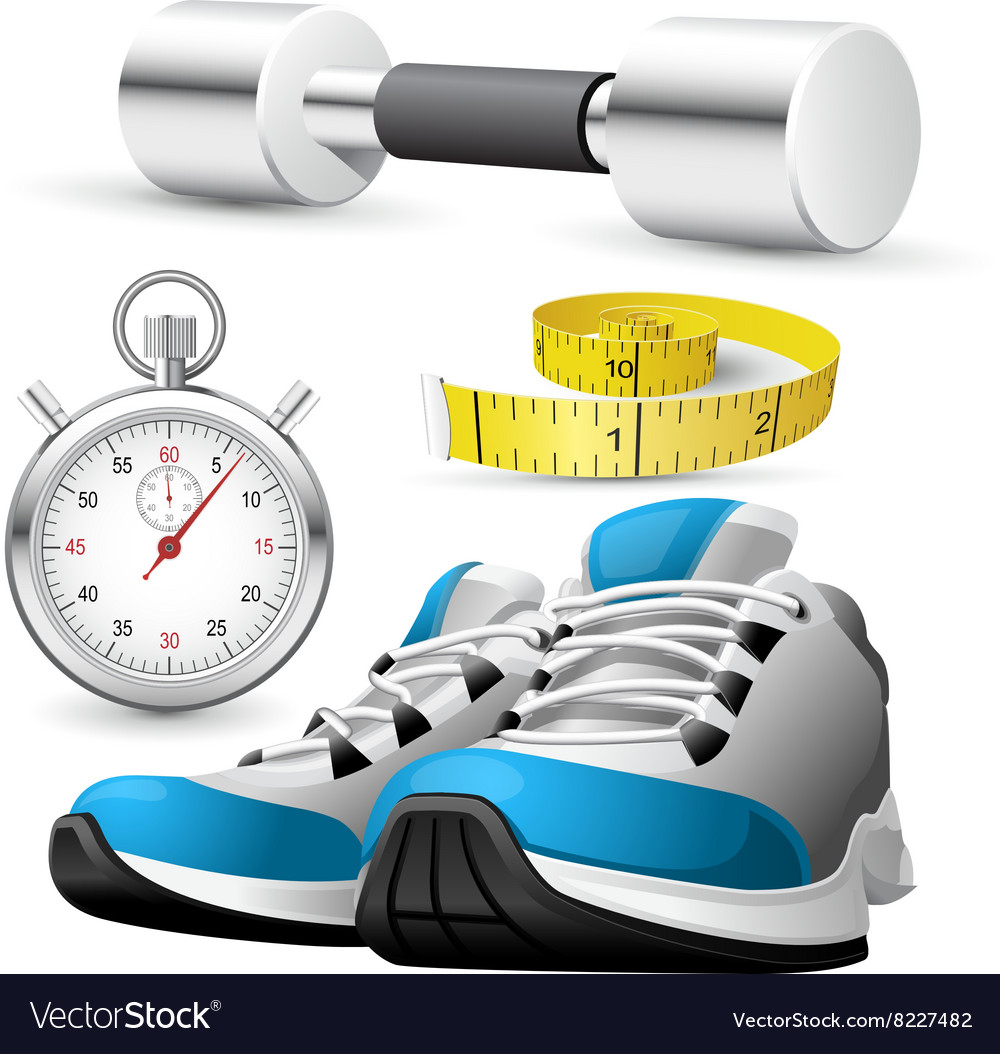 Pair running shoes stopwatch and measuring tape