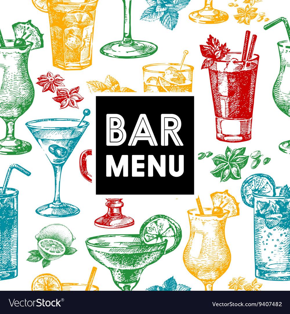 Restaurant and bar menu Hand drawn sketch