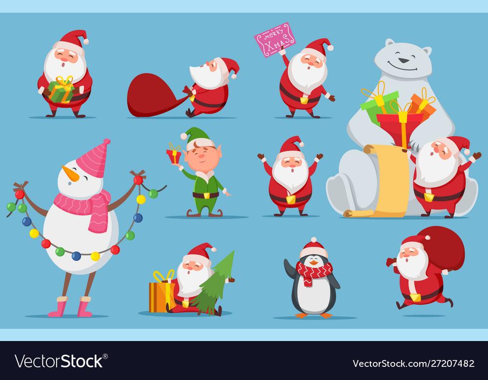 Santa claus set christmas characters cute santa