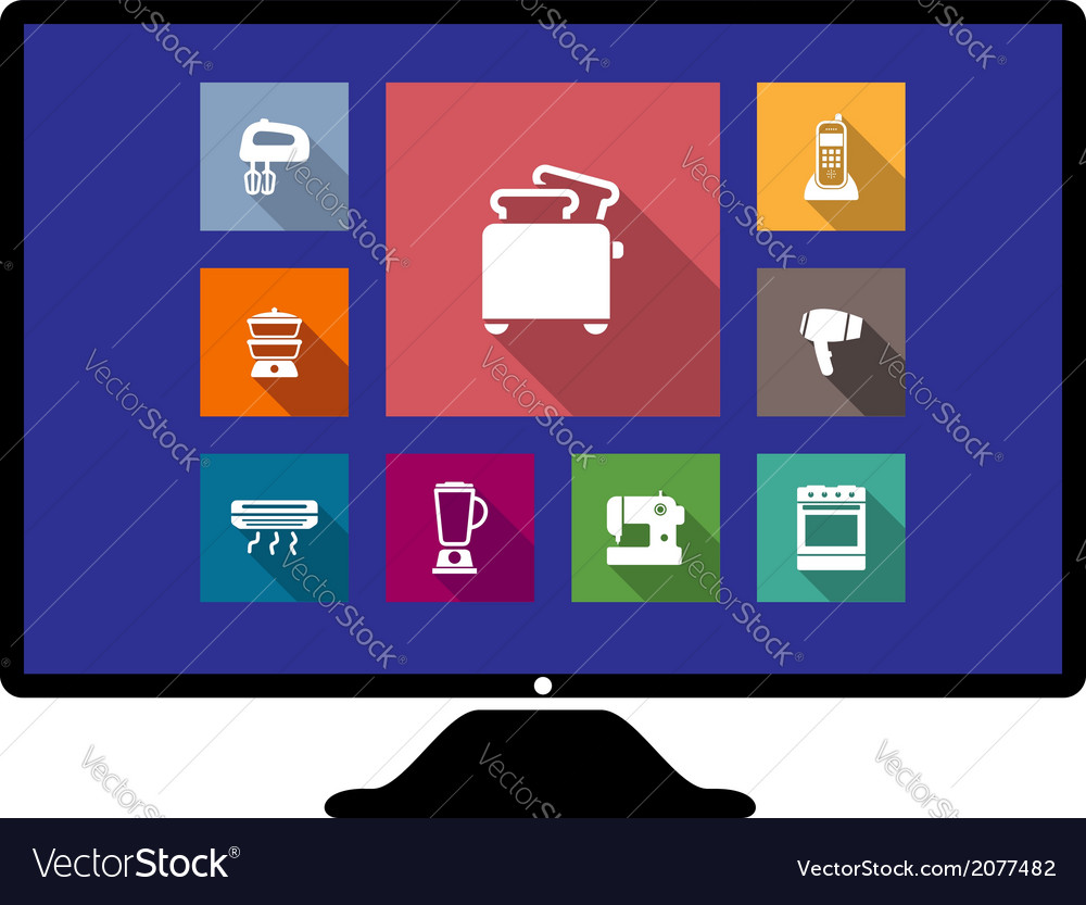 Set of flat home appliances icons on a monitor