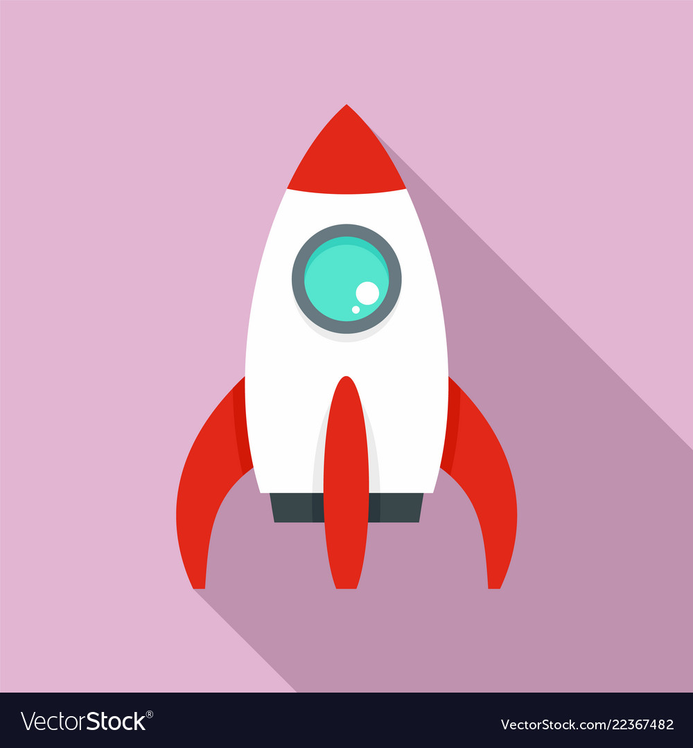 Space rocket icon flat style