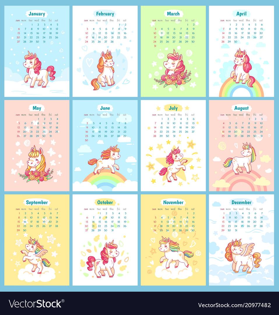 Sweet cute magic unicorn 2019 calendar for kids