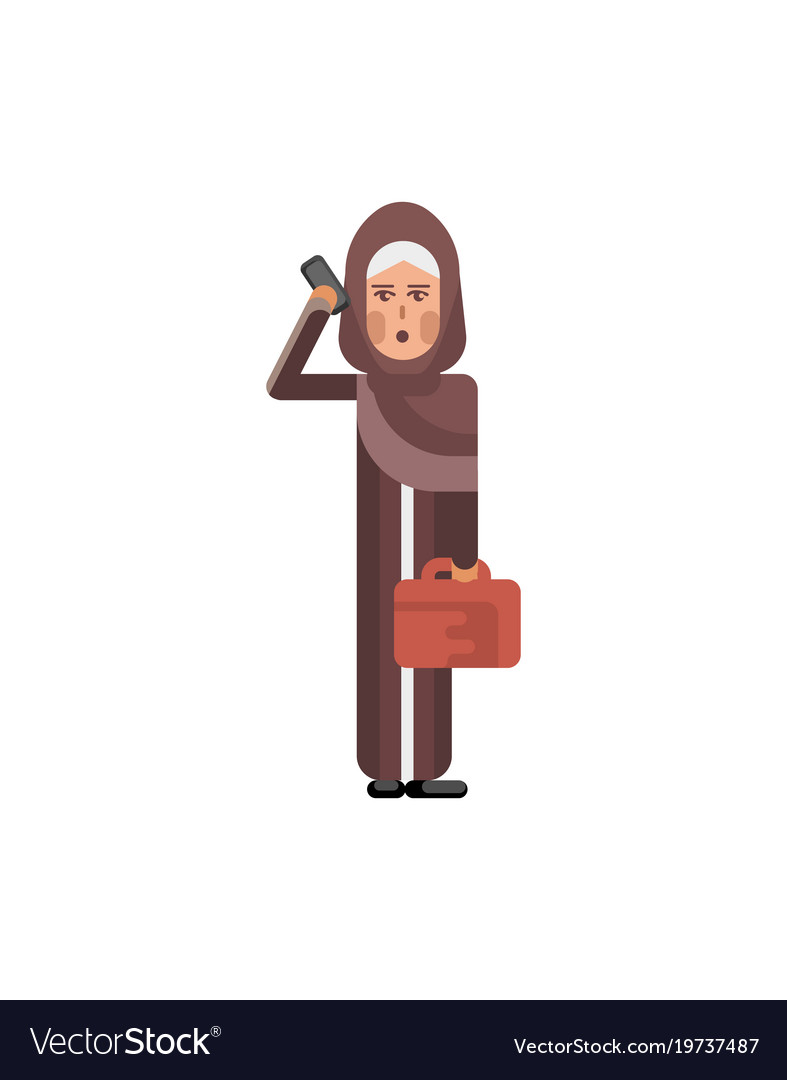 Arabic woman with bag talking on smartphone