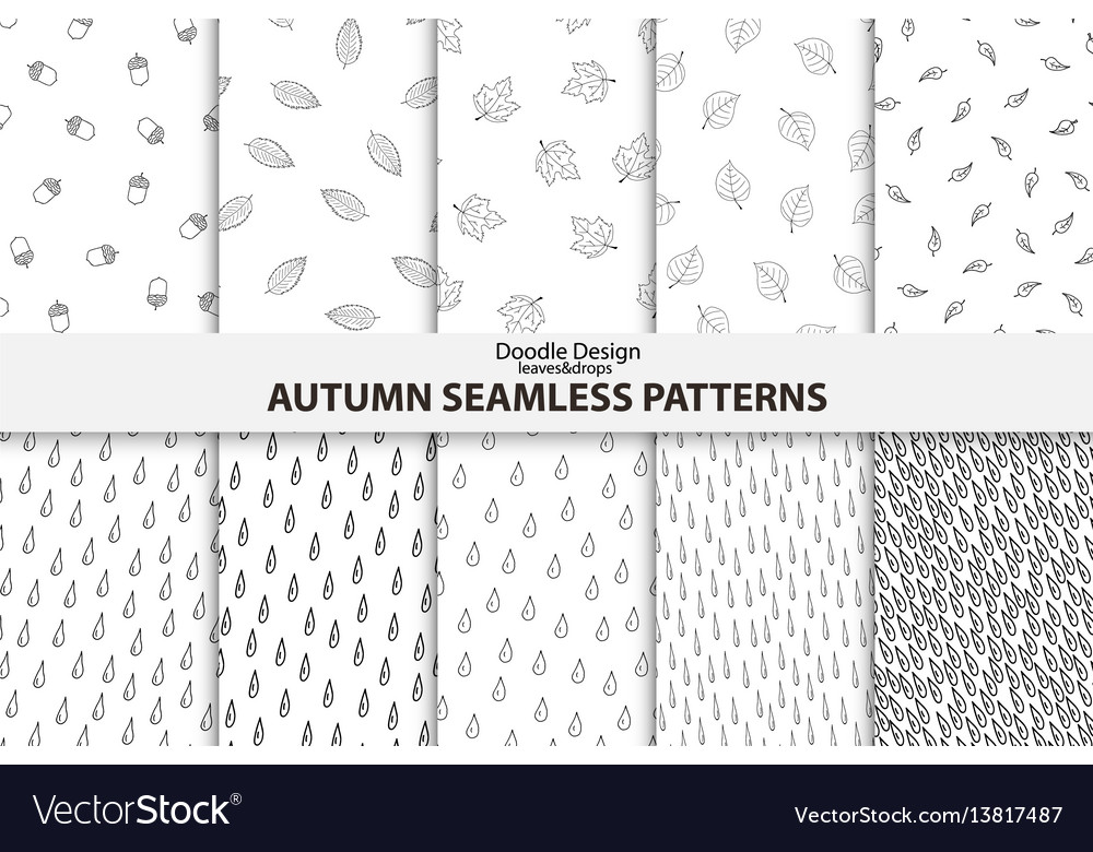 Autumn seamless patterns hand drawn design