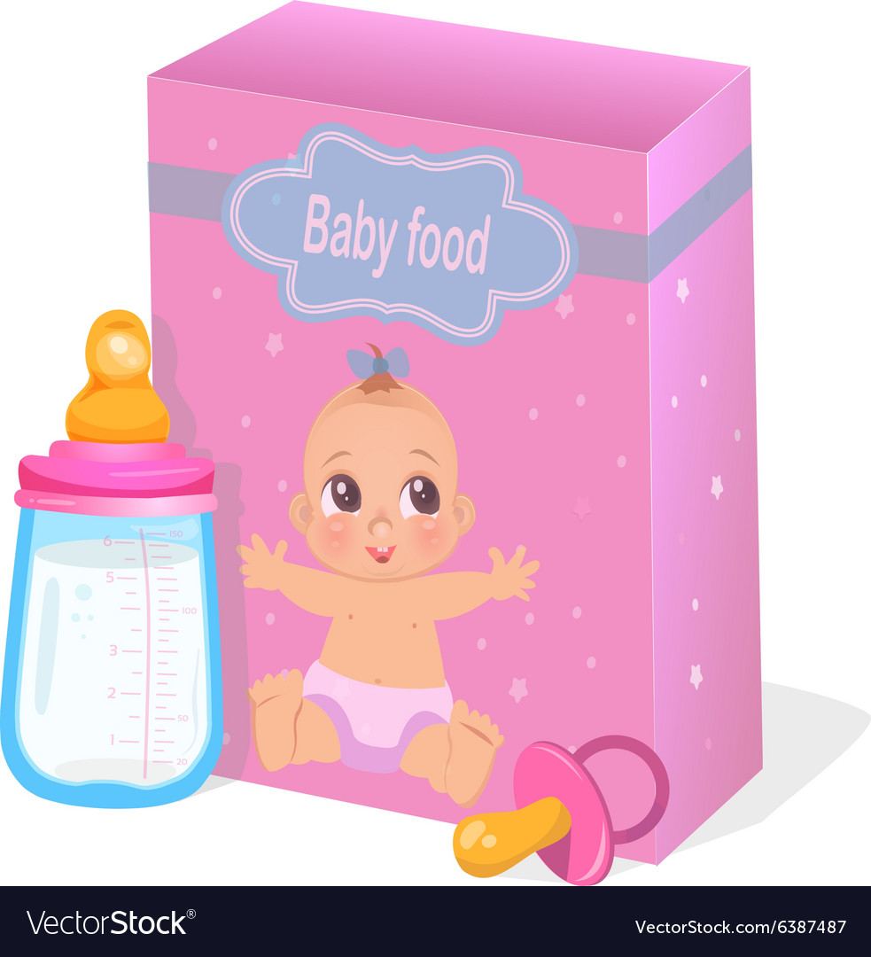 Baby food and milk bottle in pink colors