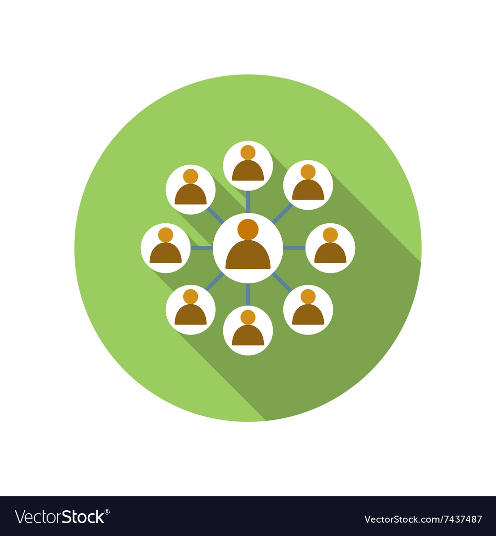 Business network with leader man flat icon vector image