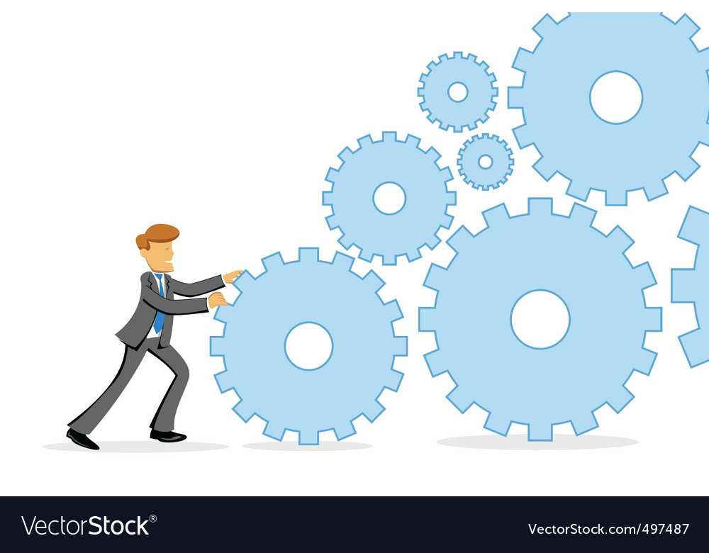 Businessman pushing cogs vector