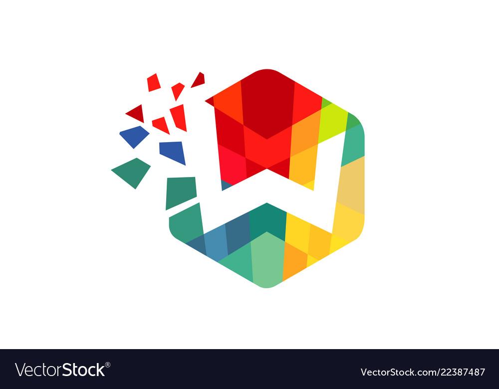 Creative colorful hexagon w letter logo