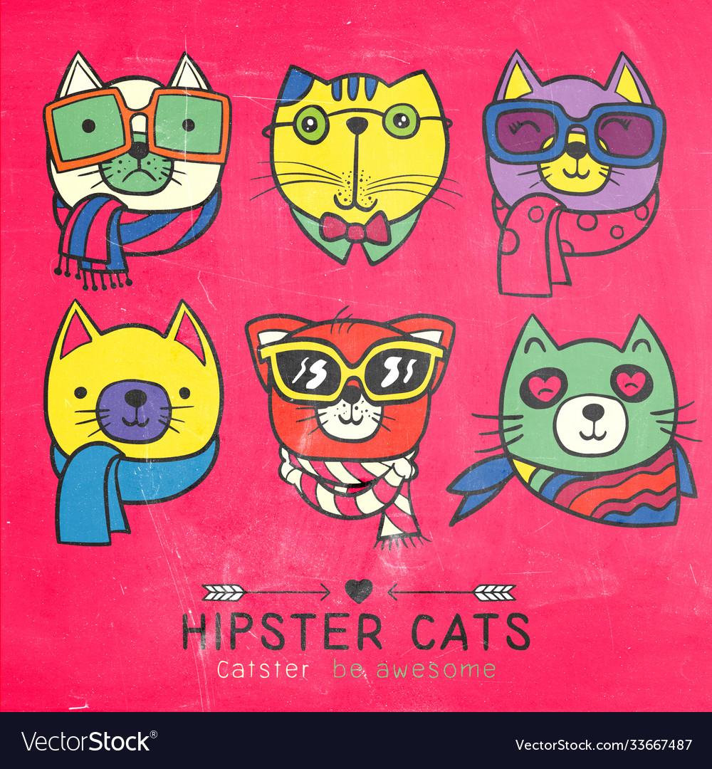 Cute cat series portrait cat hipster