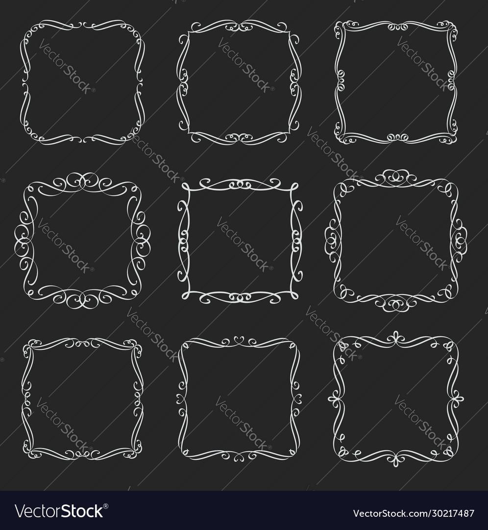 Flourishes square frames
