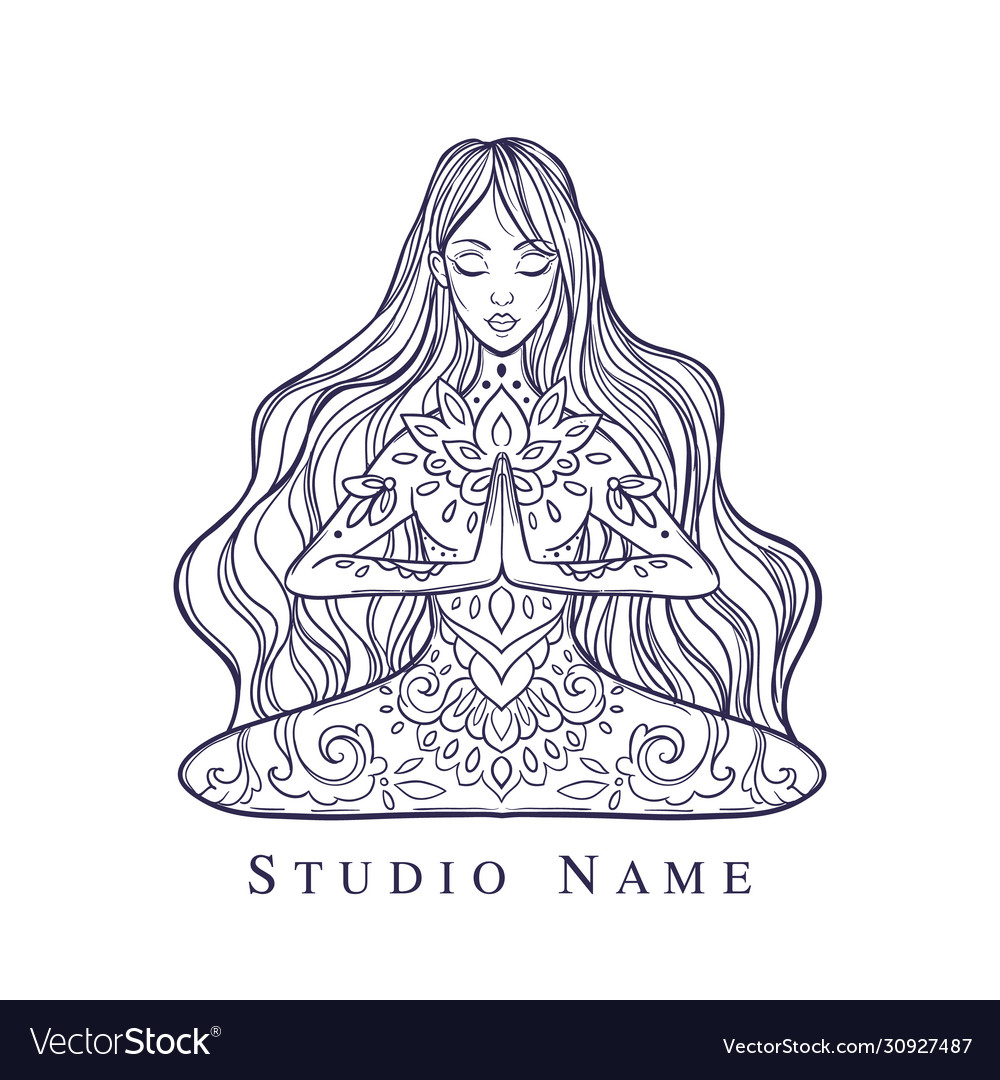 Girl In A Yoga Pose Meditation Royalty Free Vector Image