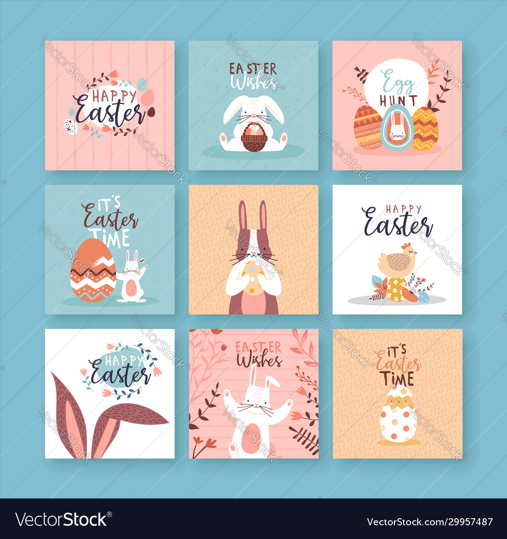 Happy easter cute rabbit spring flower card set