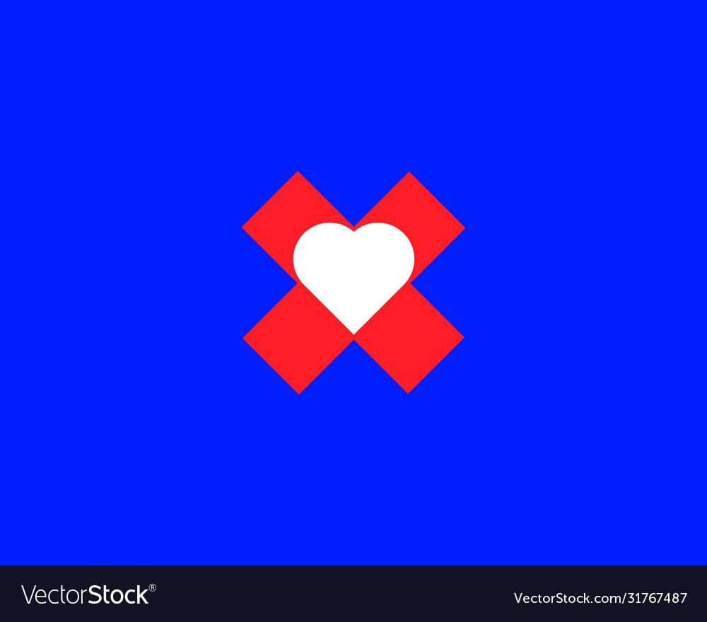 Heart in plus or cross logo design template