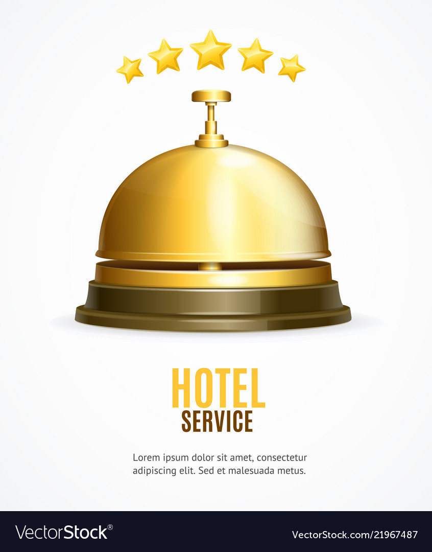 Hotel reception service banner with realistic