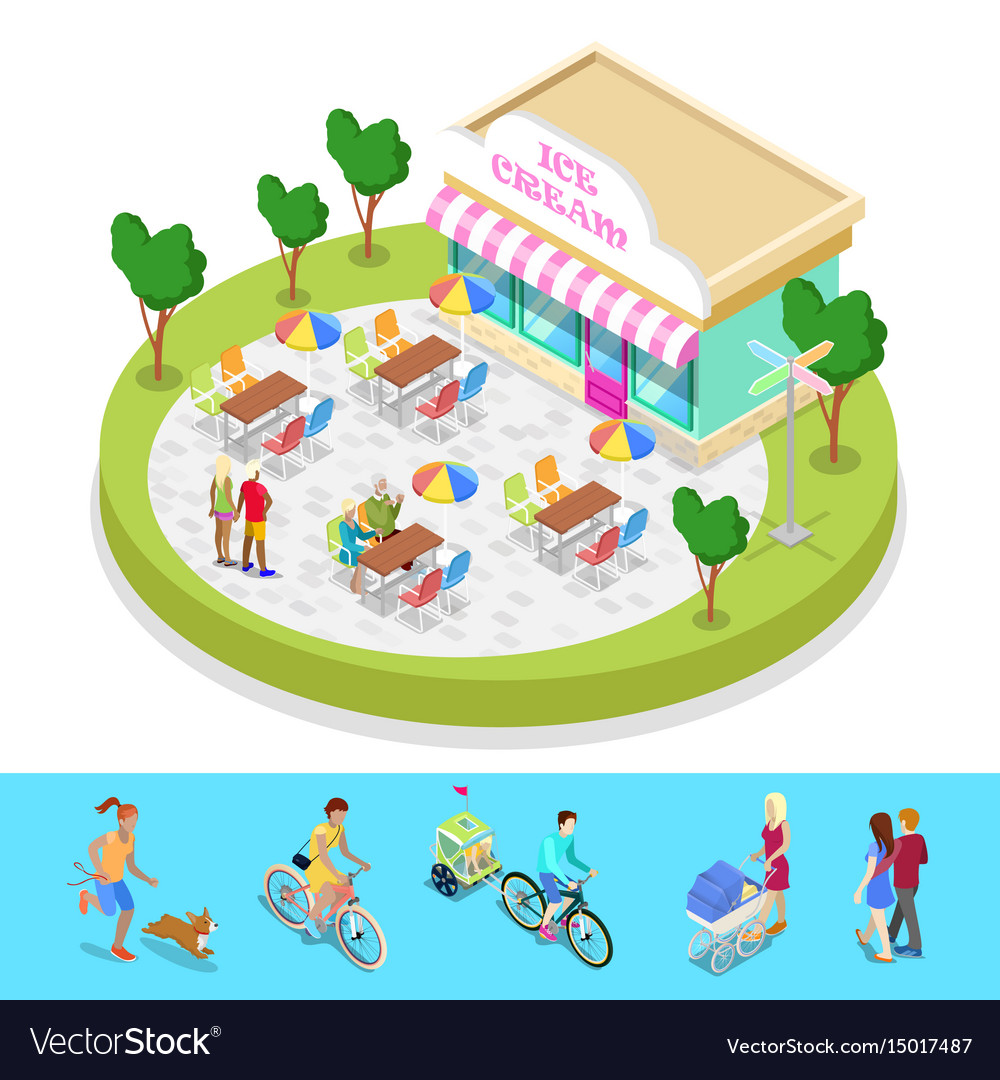 Isometric city park composition with cafe
