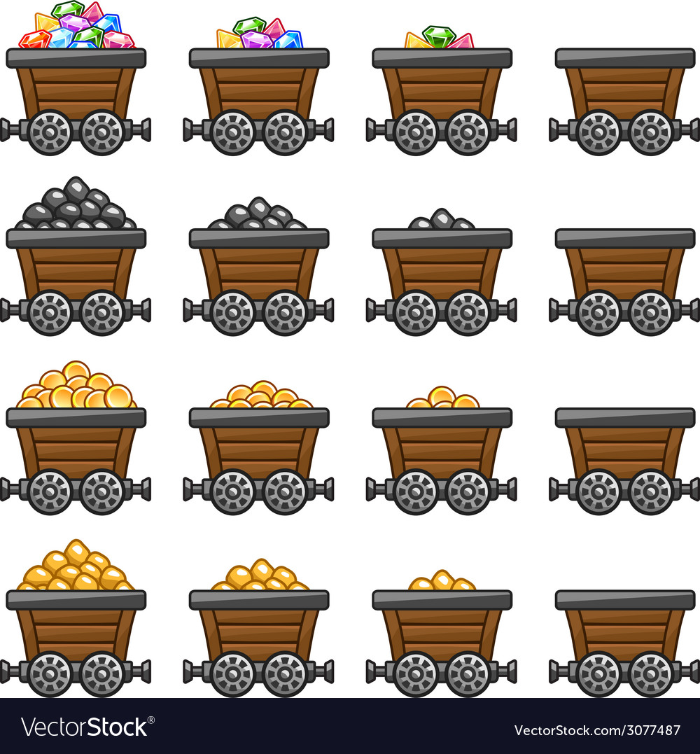 Mine cart set gold sone coins diamonds vector image