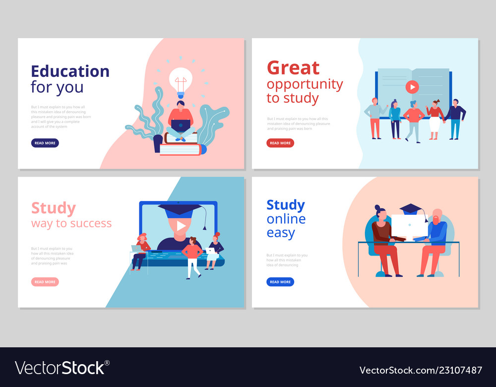 Online education concept banners